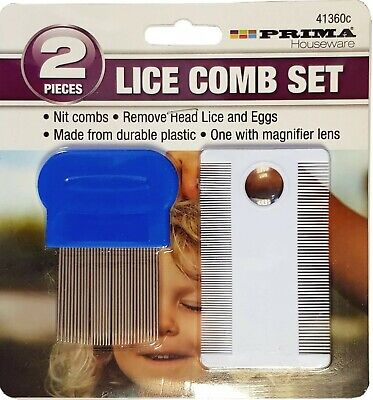 2pce Metal Plastic Nit Hair Comb Set Magnifier Remove Head Lice Eggs Effectively • 2.45£