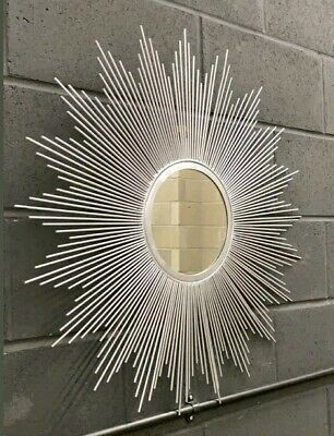 Silver Sunburst Large Accent Wall Mirror, D80cm X W80cm Christmas CLEARANCE! • 30£