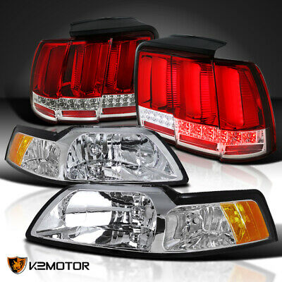 $223.60 • Buy Clear Fit 1999-2004 Mustang Cobra Headlights+Sequential Signal LED Tube Tail Red