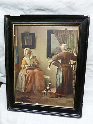 Antique Picture Frame & Print Gabriel Metsu Lady Reading A Letter 1665 Dutch Old • 9.99£