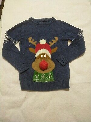 Boys Christmas Jumper Age 7 Yrs Fair Isle Rudolph Reindeer. From Next Navy Blue • 1£
