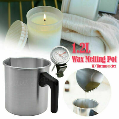 1.2L Wax Melting Pot Pouring Pitcher Jug Aluminium Candle Soap Make Thermometer • 11.99£