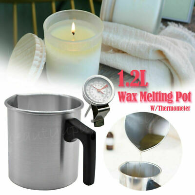 1.2L Wax Melting Pot Pouring Pitcher Jug Aluminium Candle Soap Make Thermometer • 6.29£