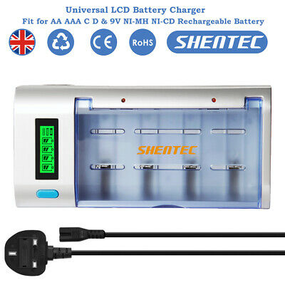 Shentec 4 Slot LCD Display AA AAA C D 9V Ni-MH Ni-CD Battery Smart Charger • 15.95£
