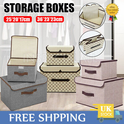 SET OF 2 Foldable Canvas Storage Box With Lid Folding Fabric Clothes Basket Tidy • 7.49£