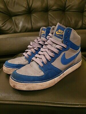 Nike Court Force Hi-Top Blue & Grey Leather-Mix Trainers - Lads Mens UK Size 8 • 12.50£