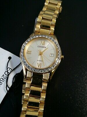 Citizen Quartz Ladies Dress Watch WR 50M EU6062-50P Gold Plated Steel. • 39.99£