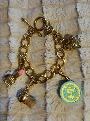Juicy Couture Goldtone Metal Chunky Link With 4 Charms Bracelet • 15£