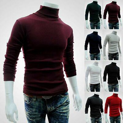 Men Winter Knitted Polo Roll Turtle Neck Long Sleeve Jumper Pullover Sweater Top • 10.49£