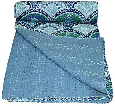 New Indian Floral Kantha Quilt Cotton Bedspread Handmade Bedding Blanket Throw  • 26.99£
