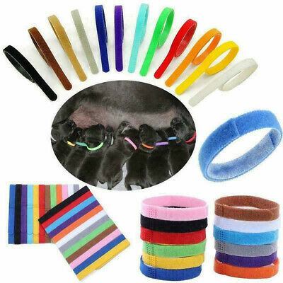 12 Colors Nylon Puppy Litter Identification Snap Collars ID Identification Bands • 3.89£