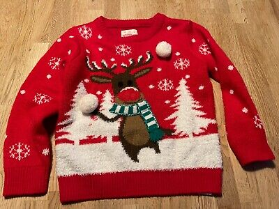 Boys Christmas Flashing Nose Rudolph Jumper In Red Age 4-5 • 1.10£