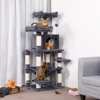 £65.99 • Buy 146cm Large Cat Tree Tower Cat Scratching Post With Hammock/ Condo/ 2 Perches