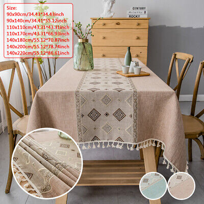 £9.89 • Buy UK Cotton Linen Tablecloth With Tassel Rectangle Coffee Table Cloth Dust Cover