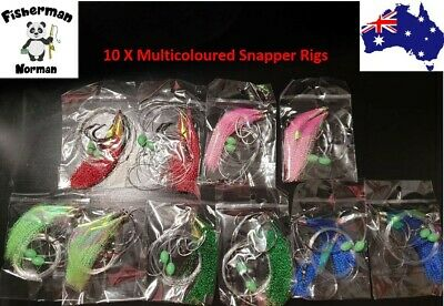 AU16.95 • Buy 10 X 6/0 Multicoloured Snapper Snatcher Rigs Flasher Rig Snapper Rig Paternoster