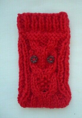 Hand Knitted Mobile Phone Case/Cover/Pouch/Sock   Owl Design 99p CHRISTMAS • 0.99£