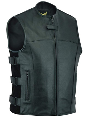 $49.99 • Buy Leatherick Mens SWAT Tactical Style Side Straps Motorcycle Biker Leather Vest