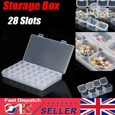 28 Slots Compartment Mini Clear Storage Box Jewelry Earring Beads Case Container • 4.89£