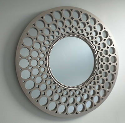 Metallic Silver Large Moroccan Round Wall Art Mirror Contemporary Mirror Decor  • 24.99£