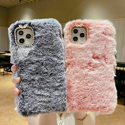 Soft Warm Plush Fluffy Phone Case Cover IPhone 12 11 Pro Max XR 7 Comfy Faux Fur • 4.99£