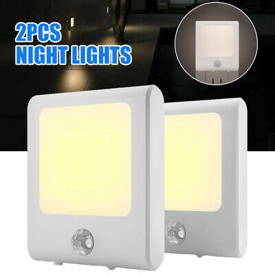 2Pcs LED Night Light Plug In Motion Sensor Hallway Socket Safety Auto Lamp UK • 12.39£