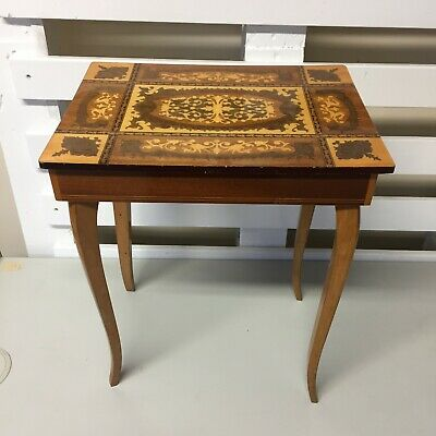 Vintage Brown Sorrento Ware Reuge Wood Musical Swiss Movement Sewing Table • 9.99£