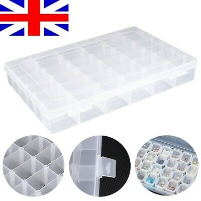 Plastic Clear 36 Compartment Craft Storage Box Pins Needles Buttons Beads DIY UK • 8.34£