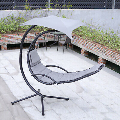 Hanging Swing Garden Chair Hammock Lounger Outdoor Patio Sun Shade With Stand UK • 219.95£