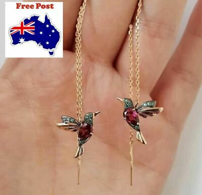 AU7.95 • Buy Hummingbird Bird Long Tassel Crystal Earrings Stud Threader Dangle Au Stock