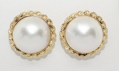 $395 • Buy Estate 14K Yellow Gold 14.5mm Mabe Pearl Rope Border Stud Earrings