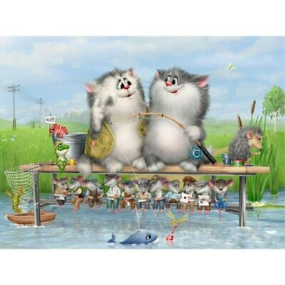 AU12.80 • Buy Art Diamond Painting 5D Craft Full Drill Embroidery DIY Two Cats Fishing Decor