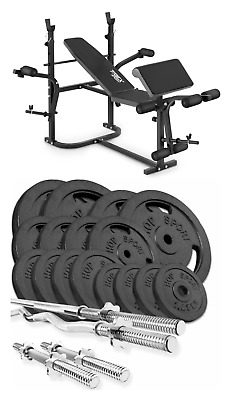 Home Exercise Bench With Prayer Book + SET 119 Kg Iron Weights Plates And Bars • 1,099£