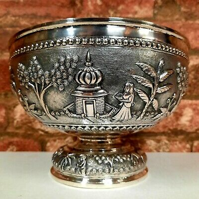 £899.99 • Buy Rare Antique Anglo Indian Solid Silver Bowl Lucknow Bowl