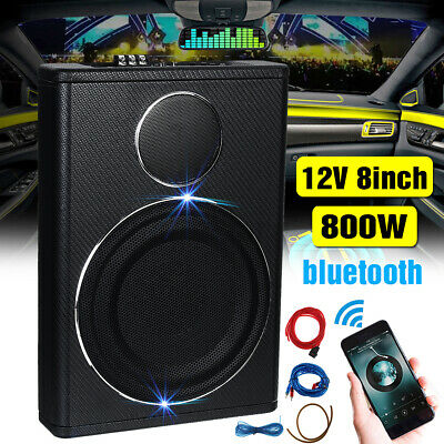 8'' 600W Slim Underseat Car Bass Subwoofer Sub Speaker Amplifier Bluetooth Audio • 72.99£