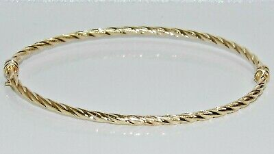 9ct Yellow Gold Ladies Bangle - Twisted Design - New - Gift Boxed • 95£