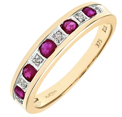 £89.95 • Buy 9ct Yellow Gold Ruby & Diamond Eternity Ring - All Sizes - New