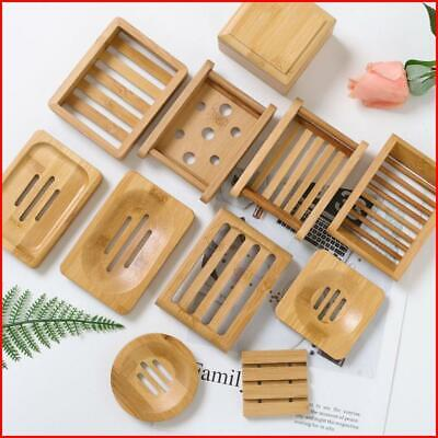 Wooden Natural Bamboo Soap Dishes Tray Holder Storage Soap Rack Plate Box • 3.02£