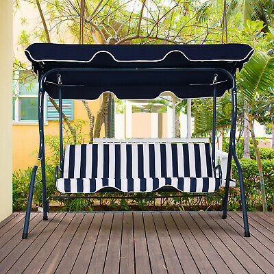 £89.99 • Buy Outsunny Garden Outdoor 3-Person Metal Porch Swing Chair Bench W/ Canopy Blue