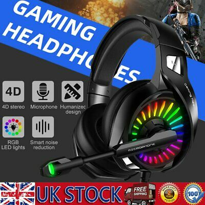 3.5mm Gaming Headset Stereo Gaming Headphones RGB LED W/ Mic For Gamer Skype PC` • 22.99£