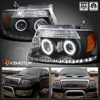 $130.51 • Buy For 2004-2008 F150 06-08 Lincoln Mark LT Black LED Halo Projector Headlights L+R