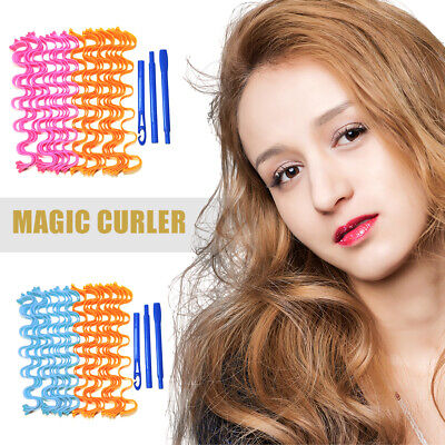 Magic Curlers Short Long Hair Spiral Curl Formers Leverage Rollers With Hook UK- • 9.11£