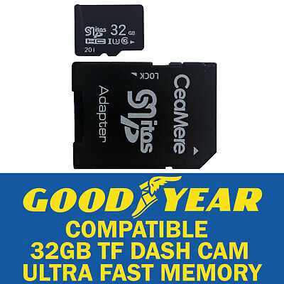 32GB Dash Cam Memory Card Ultra High Speed Goodyear Compatible Plus SD Adapter • 5.99£