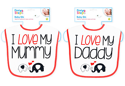 2 Pack Baby Bibs I Love My Mummy And I Love My Daddy 0-6 Months Great Quality • 3.99£