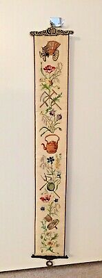 Vintage Embroidered Garden Floral Bell Pull Wall Hanging Brass Ends 6  X 42   • 28.67£