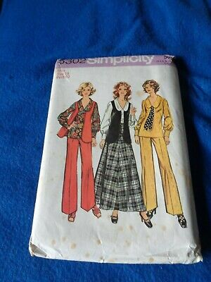 Vintage Simplicity Sewing Patt - Lady's Blouse/skirt/trousers/waistcoat 1972 18 • 3.50£