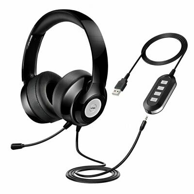 VTIN USB 3.5mm Wired Computer PC Headset Headphones W/ MIC For Call Centre Skype • 27.81£