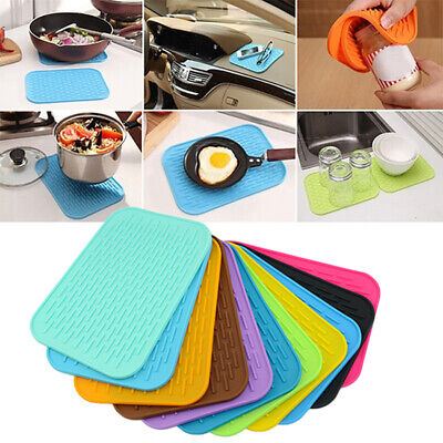 £3.11 • Buy Kitchen Silicone Heat Resistant Table Mat Non-slip Pot Pan Holder Pad Cushion