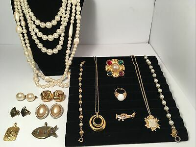 $ CDN65 • Buy Vintage Gold Tone And Pearl Jewelry Lot Avon, Napier, Marvella Signed Items