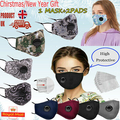 Adult Cotton Face Masks Reusable Washable With PM2.5 Filter Pocket Air Valve UK • 2.99£