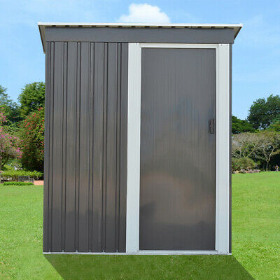 Grey Metal Garden Shed 3FT X 5FT Pent Roof Outdoor Tools Store Storage BRAND NEW • 164.99£
